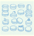set of hand drawn macaroons vector image vector image