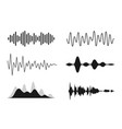 set sound waves analog and digital line vector image vector image