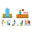 staff of the hotel serves hotel room and rooms vector image vector image