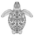 stylized decoration zentangle turtle vector image vector image