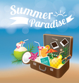 Summer Suitcase with Objects on Blur Background vector image vector image