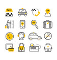 taxi app modern linear icons set vector image