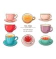 tea cups set color vector image