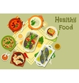 Vegetable and fish dishes icon for food design vector image vector image
