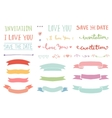 Vintage hand drawn romantic set vector image