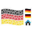 waving germany flag pattern of home icons vector image