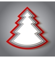 White and red paper christmas tree vector image vector image