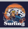 young man crazy extreme surfer riding vector image vector image