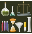 cartoon chemistry laboratory objects in flat vector image