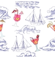 Seamless pattern with waves ships and cocktails vector image