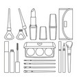 18 line art black and white make up elements vector image vector image