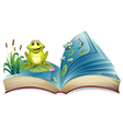A book with a story of the frog in the pond vector image vector image