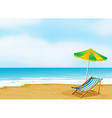 A relaxing beach with an umbrella and a foldable vector | Price: 1 Credit (USD $1)