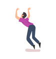 back view man falling down forward cartoon vector image