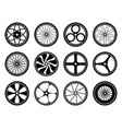 bicycle wheels set with tires and spokes bike vector image vector image
