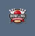 bowling championship emblem vector image vector image