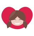 brunette lovely girl with red heart vector image