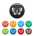 butterfly in wildlife icons set color vector image vector image