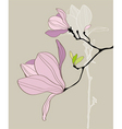 card with stylized magnolia vector image vector image