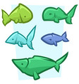 cartoon funny colored fish icon set vector image vector image