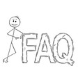 cartoon of man or businessman leaning on big faq vector image