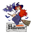 cartoon vampire bat and cute young witch flying on vector image vector image