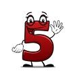 Cheeky waving cartoon number 5 vector image