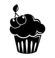 cherry cupcake icon simple black style vector image vector image