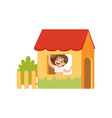 cute little girl playing house kid having fun on vector image vector image