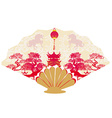 Decorative opened fan with patterns of Year of vector image vector image
