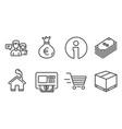 dollar money bag and delivery shopping icons vector image vector image