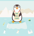 eco concept poster with cute penguin vector image vector image