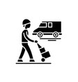 express logistics black icon sign on vector image vector image