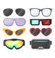flat style set of glasses vector image