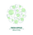 fresh apples banner template with organic natural vector image vector image