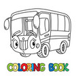 funny small bus with eyes coloring book vector image vector image
