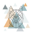 geometric wolf low poly line art vector image vector image
