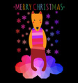 greeting christmass card with cute colorful dog vector image