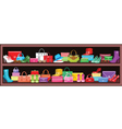 Image of a shelf with bags and shoes vector image vector image