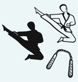 Karate male young fighter and nunchaku weapon vector image vector image