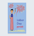 labor day design a man on stilts dressed vector image vector image