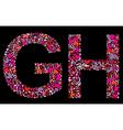 letter g h valentine alphabet vector image vector image