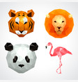 low poly animals tiger lion panda flamingo set vector image