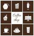 Monochrome set of coffee items vector image