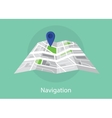 navigation map with maps and pin icon green vector image vector image