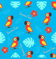 pattern with cute parrot and tropical leaves vector image vector image