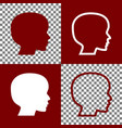people head sign bordo and white icons vector image vector image