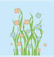 pink and blue flowers in grass vector image