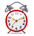 Pixel retro alarm clock isolated vector image vector image