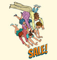 pop art sale women fight vector image vector image
